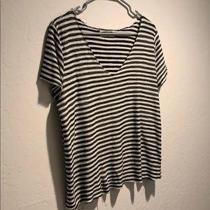 Raw hem striped T-shirt